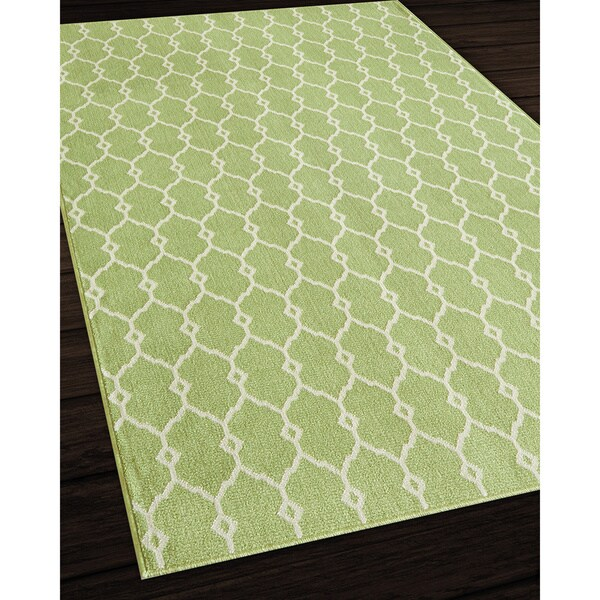 Indoor Outdoor Green Trellis Rug 3 11 x 5 7