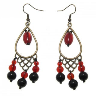 Handmade Red and Black Agate Chandelier Earrings (China)