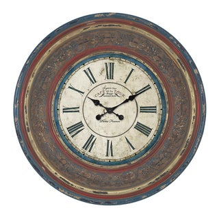 'Cafe De La Tour Paris' Hand-carved 34-inch Wall Clock