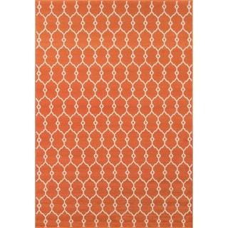 Indoor/ Outdoor Orange Trellis Rug (8'6 x 13')