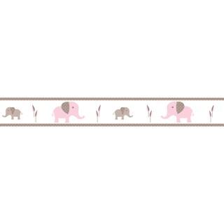 Sweet JoJo Designs Pink and Taupe Mod Elephant Modern Wall Border