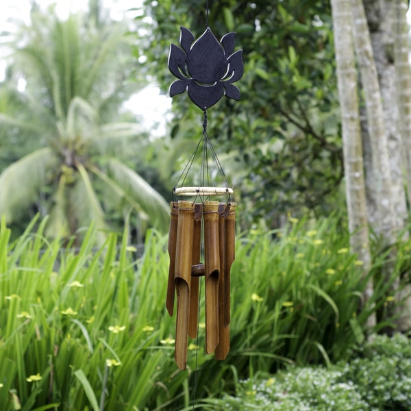 Bamboo Carved Lotus Wind Chimes (Indonesia)