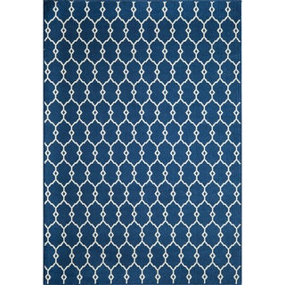 Indoor/Outdoor Navy Trellis Rug (7'10 x 10'10)