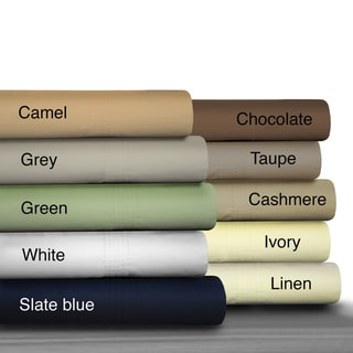 Egyptian Cotton Percale 475 Thread Count Deep Pocket Sheet Set and Optional Pillowcase Separates