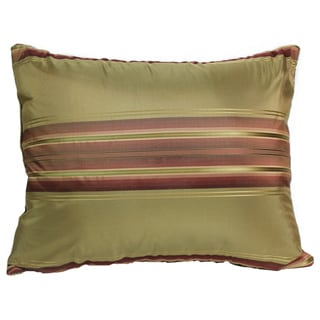 Windsor Silk Stripe Pillow 14-Inch Olive Pillow