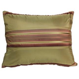 Windsor Silk Stripe Pillow 14-Inch Olive Pillow
