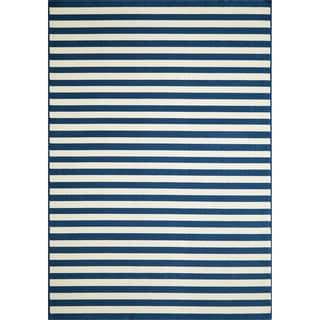 Indoor/Outdoor Navy Striped Rug (1'8 x 3'7)