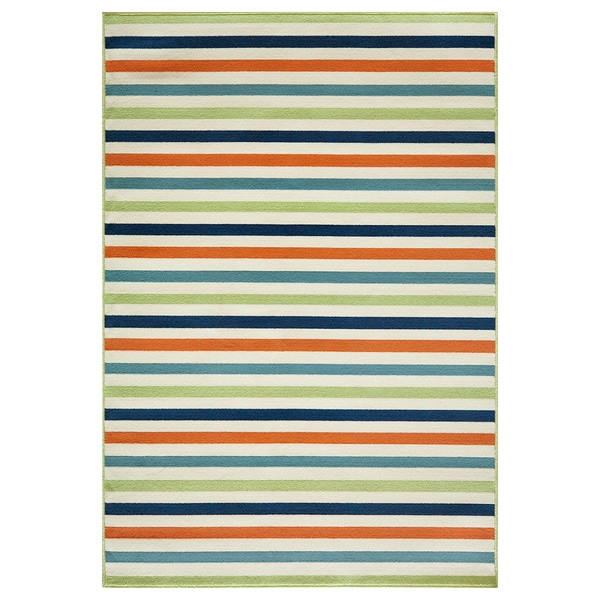Indoor Outdoor Multi colored Striped Rug 5 3 x 7 6