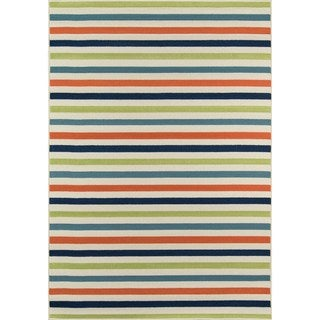 Indoor/ Outdoor Multi-colored Striped Rug (8'6 x 13')