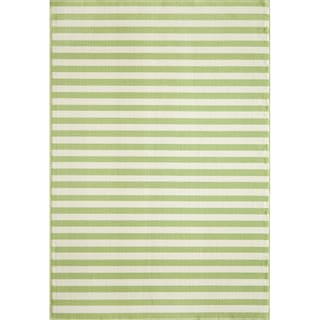 Indoor/Outdoor Green Striped Rug (7'10 x 10'10)