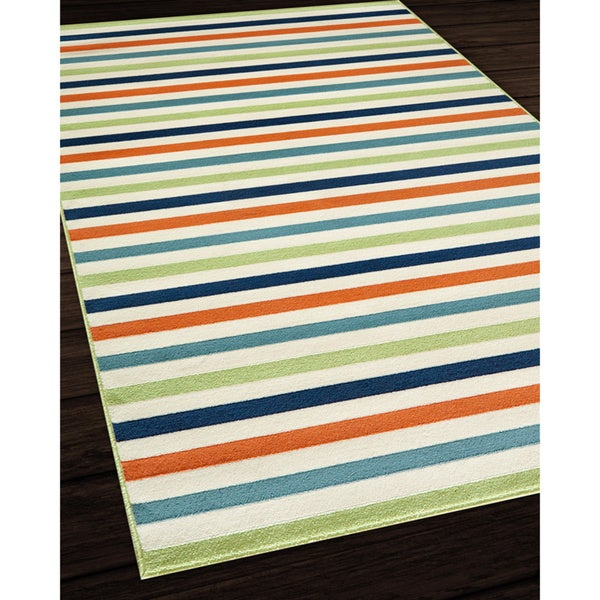 Indoor Outdoor Multi colored Striped Rug 6 7 x 9 6