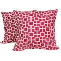 Escape Crimson 17-Inch Square Outdoor Decorative Pillows (Set of 2)