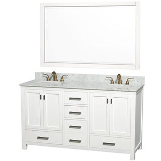 Abingdon Carrera Marble Top Double White Vanity, Sink and Mirror Set