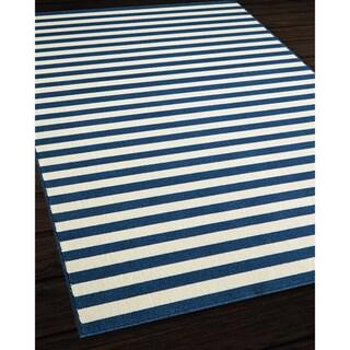 Indoor/Outdoor Navy Striped Rug (5'3 x 7'6)