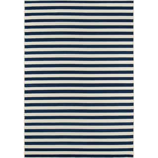 Indoor/Outdoor Navy Striped Rug (5'3 x 7'6)