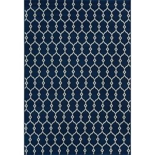 Indoor/ Outdoor Navy Trellis Rug (1'8 x 3'7)