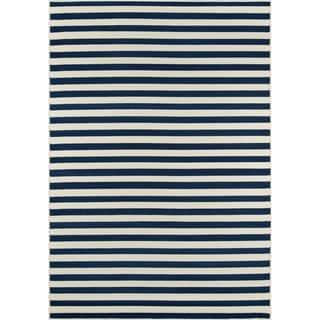 Striped Navy Indoor/Outdoor Rug (2'3 x 4')