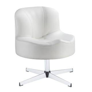 Bridgeport Ergonomic Contour Soft White Faux Leather Swivel Modern Cross Legs Accent Chair