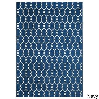 Trellis Navy/ Grey Indoor/Outdoor Rug (5'3 x 7'6)