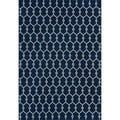 Trellis Navy/ Grey Indoor/Outdoor Rug (5'3 x 7'6)