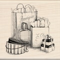 Inkadinkado Mounted Rubber Stamp-Shopping Bags