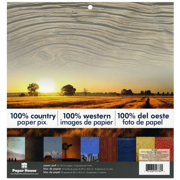 """Paper House Double-Sided Paper Pad 12""""X12"""" 24/Sheets-100% Country"""