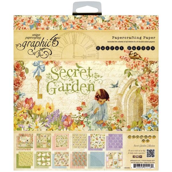 "Secret Garden Double-Sided Paper Pad 8""X8""-26 Sheets - 26 Designs/1 Each"
