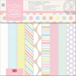 "Papermania Spots/Stripes Pastels Designstax 12""X12 48/Sheets-96 Designs, 200gsm/75# Cover Wt"