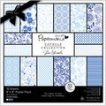 "Papermania Burleigh Blue Paper Pack 8""X8"" 32/Sheets-32 Designs, 160gsm/60# Cover Wt"