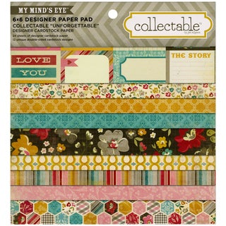 "Collectable Unforgettable Paper Pad 6""X6"" 24/Sheets-12 Double-Sided Designs/2 Each"