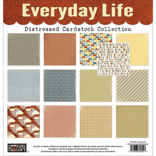 "Everyday Life Cardstock Collection Pack 12""X12""-Patterned; 6 Double-Sided/2ea + Stickers"