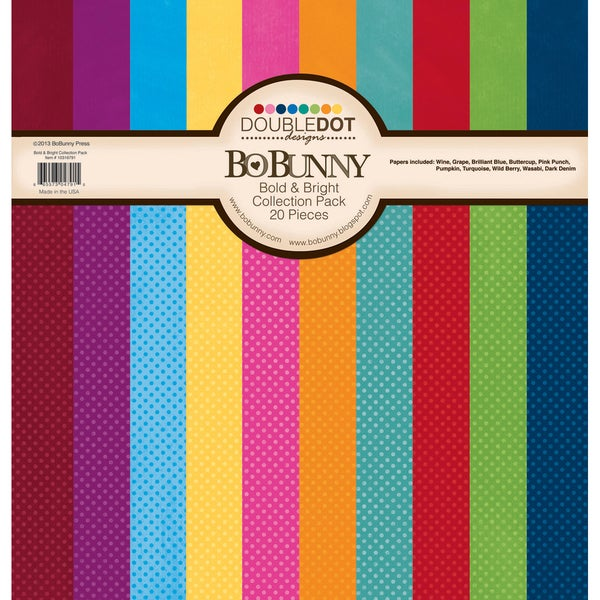 """Double Dot Cardstock Collection Pack 12""""X12""""-Bold & Bright"""