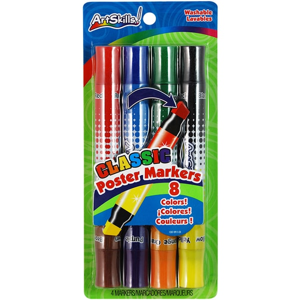 "Washable Poster Markers Double-Ended 1/2"" Chisel Tip 4/Pkg-Classic, 8 Colors"