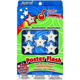 Poster Flash Reusable Star LED Poster Lights 5/Pkg-With Peel And Stick Foam Squares