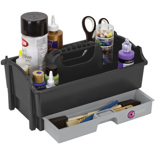 """Creative Options Crafter's Caddy W/Drawer 12.875""""X8""""X6.75""""-Sparkle Gray/Silver"""