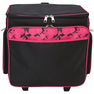 Mackinac Moon Basic Rolling Tote-Black With Pink Floral
