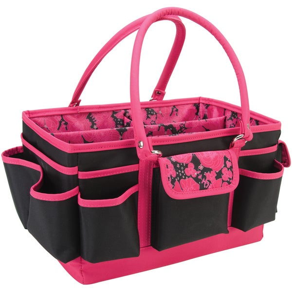 Pink Scrapbooking Tote Craft Tote-black With Pink