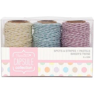 Papermania Spots/Stripes Pastels Bakers Twine 3/Pkg-3 Colors, 20 Meters Each