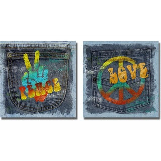 Conrad Knutsen 'Peace and Love' 2-piece Canvas Set