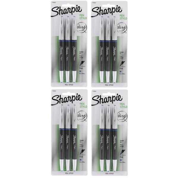 Sharpie 12 Pack Pen Grip Fine Point Blue Ink Pens