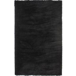 Handmade Posh Black Shag Rug (5' x 7')