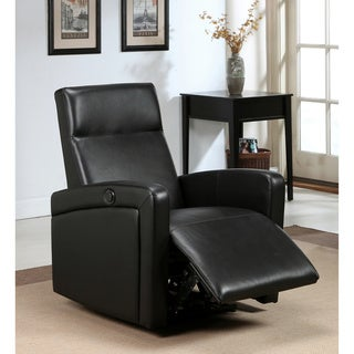 Abbyson Living Milano Black Top Grain Leather Electric Recliner