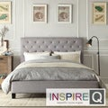 INSPIRE Q Kingsbury Grey Linen Tufted Platform Bed