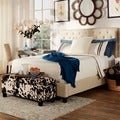 INSPIRE Q Kingsbury Grey Linen Tufted Upholstered Platform Bed