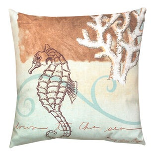 Watercolor Seahorse 20-inch Decorative Throw Pillow