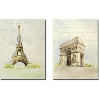 Lanie Loreth 'Eiffel Tower and Arc de Triomphe' 2-piece Canvas Art Set