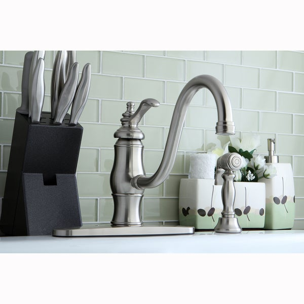 Vintage Satin Nickel Counter-Mount Kitchen Faucet with Side Sprayer