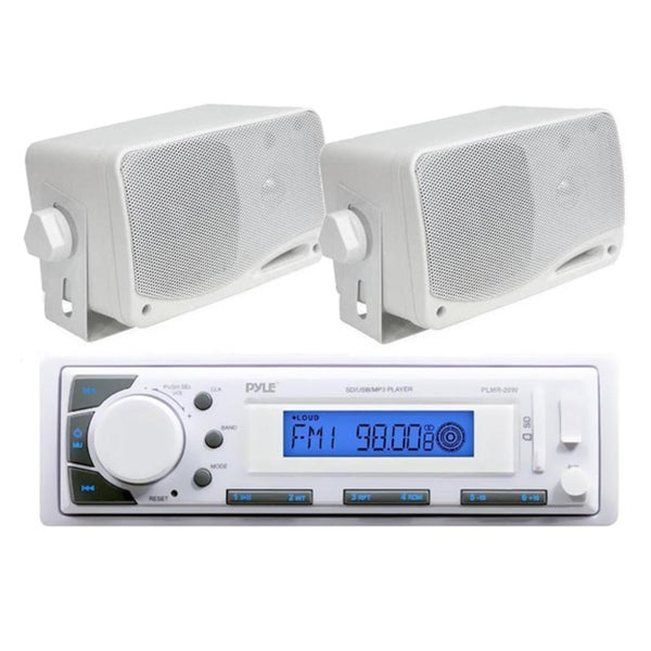 "Pyle In-Dash iPod/MP3 AUX USB/SD Input AM/FM Marine Headunit Receiver + 2 x 3.5"" 200W Speakers"