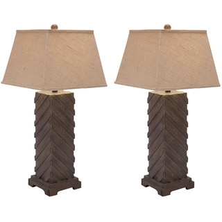 Casa Cortes Luxe Handcrafted Rustic Wood 31-inch Table Lamps (Set of 2)