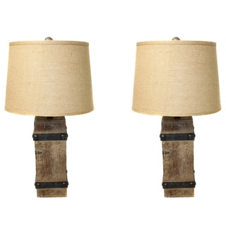 Casa Cortes Rustic Wood and Burlap Handcrafted 26-inch Table Lamps (Set of 2)